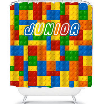 LEGO Shower Curtain Monogram Boy Girl Sister Brother Colorful CUSTOM Child Name Bathroom Bath USA