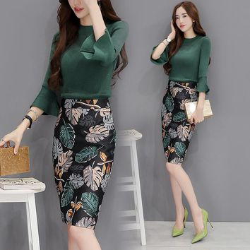 green top two-piece suit two piece set