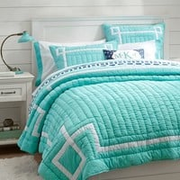 Emma Ribbon Trim Quilt + Sham, Pool