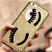 Shining Big eyes Embroidery iPhone X 8 7 7 Plus & iPhone 6 6s Plus & iPhone 5s se Case Personal Tailor Cover + Gift Box