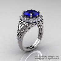 High Fashion 14K White Gold 3.0 Ct  Blue Sapphire Diamond Designer Wedding Ring R407-14KWGBS