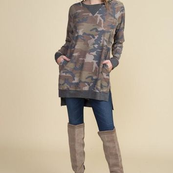 Camo Tunic Top - Brown