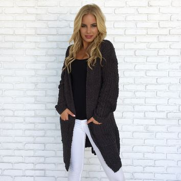 Dancing in the Rain Knit Cardigan in Charcoal