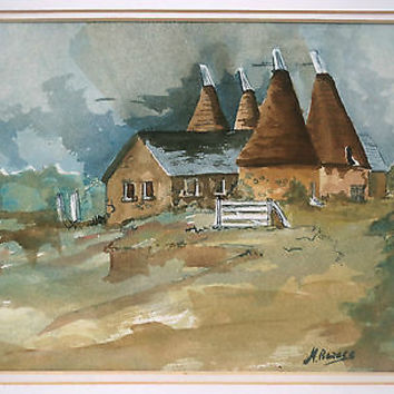 Watercolor Painting Farmhouse Landscape Thatch Houses Signed M Barnes MidCentury