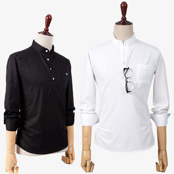 Mens Slim Casual Half Button Dress Shirt