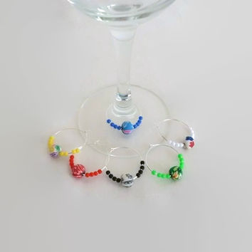 Wine Glass Charms with Beads, Wine Markers, Hostess Gift