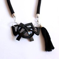 Black Tassel necklace Fashion Statement cord necklace limited edition