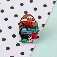 Tropical Sunset Enamel Pin with clutch back // lapel pins, tropical, hawaiian // EP087