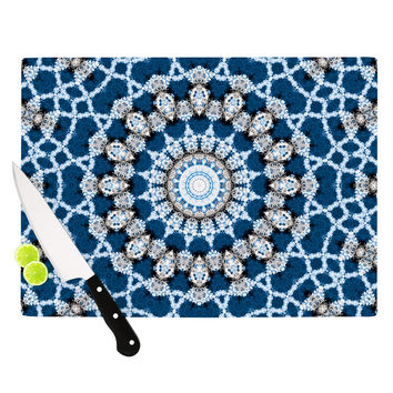 "Iris Lehnhardt ""Mandala II"" Blue Abstract Cutting Board"