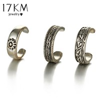 17KM Punk Style Sexy Carved Heart Toe Ring Sets Party Rings for Women Man Boho Vintage Fashion Anillos Beach Foot Jewelry