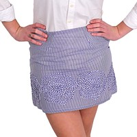 thin-stripe-skirt-in-indigo-and-white-with-rosette-design-by-judith-march - FINAL SALE