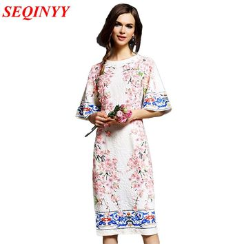 Plus Size 2017 Summer Fashion Daily Women's Peach Flower Appliques Half Flare Sleeve Vintage Printed Straight Knee-length Dress