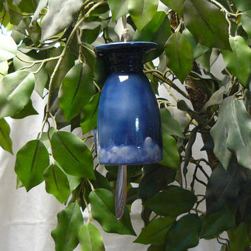 Ceramic Wind Chime Coffee Time Blue by GrapeVineCeramicsGft