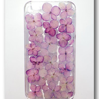 Handmade iPhone 4/4S case, Resin with Dried Flowers, Purple Hydrangea