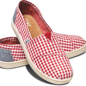 TOMS Red Seersucker Youth Classics Slip-On Shoes for Kids,