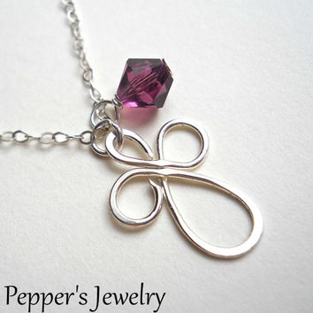 February Birthstone Necklace Celtic Cross Necklace Cross Charm Necklace Amethyst Necklace Birthstone Jewelry Amethyst Birthstone Jewelry