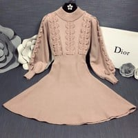 DIOR Autumn Winter Popular Women Long Sleeve Knit Dress