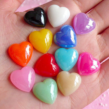 Heart Cabochons Mix (Candy Color) (12 pcs) Colorful Assorted Heart Cabochon Kawaii Cell Phone Deco Decoden Supplies RHE017