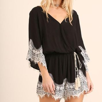 Black Lace Trim Tassel Tie Romper