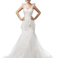 Dressystar Sexy Mermaid Straps Wedding Dresses Gowns Lace-up Back