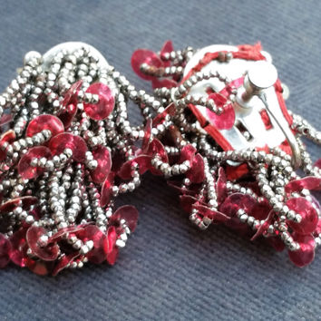 Steel cut bead Antique Arts and Crafts red sequin screw back earrings