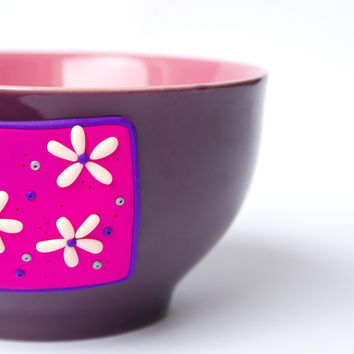 Lovely Flowery cereal bowl purple, pink claret
