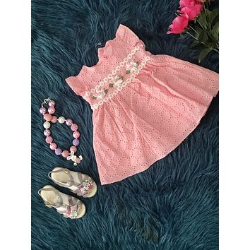 2019 Spring & Summer Sweet Pink  Flower Infant Dress