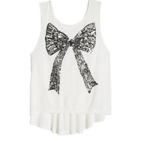 Sequin Bow Tank - White