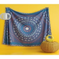 Paola Blue Aztec Pattern Cotton Wall Bed Tapestry