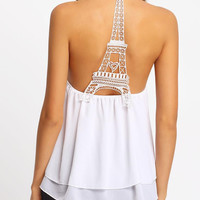 New Summer fashion women weave Eiffel Tower sleeveless T-shirt -0629