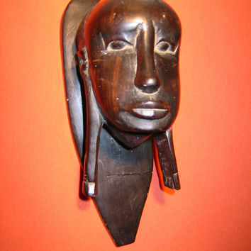 Folk Art African Composite Portrait Bust Wall Decor