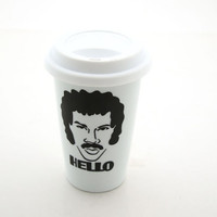 Lionel Richie Hello Original Design Travel Mug Double Walled Porcelain Eco Cup with Lid Kiln Fired