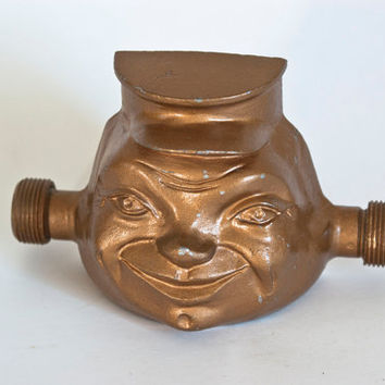 Ford Meter Box Company Happy Meter Man, Vintage Man Face Water Meter Fitting, Industrial Decor