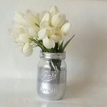 Painted Mason jars, vase. Silver, Shower centerpiece, weddings, candle holder, Home decor,Desk organizer.