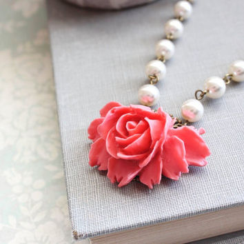Pink Coral Rose Necklace Vintage Style Necklace Flower Pendant Pearl Chain Romantic Bridesmaids Gift Coral Bridal Jewelry Mothers Day GIft