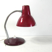 small mid century, desk lamp or wall light, red metal. French vintage lighting.