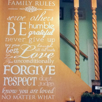 Family Rules Wall Decal House Rules