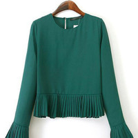 Dark Green Pleated Bottom and Flounce Long Sleeve Casual Top