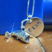 "Sterling silver necklace with handstamped ""fish"" charm and large mouth bass fish charm"