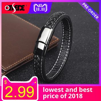 OBSEDE Fashion Black Genuine Leather Bracelet for Men Jewelry Punk Male Stainless Steel Bracelets & Bangles Braid Rope Chain