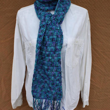 Crochet Scarf - Blue Scarf - Turquoise Scarf - Purple Scarf - Scarf With Fringe - Extra Long Scarf - Gift For Her - Gift For Him