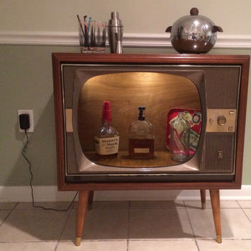 Up-cycled Vintage Zenith Super H-20 Console Television Converted Bar Cabinet, TV Bar