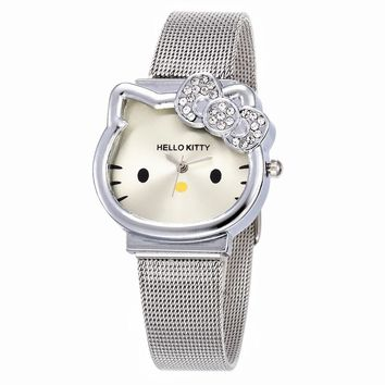 Cat Quartz Hello Kitty Watch Women Luxury Fashion Lady Girl Silver Stainless Steel Net Band Cute Wristwatch Crystal Hour Gold