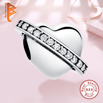 Fits Pandora Charms Bracelet Original 925 Sterling Silver Pave CZ Zircon Crystal Heart DIY Jewelry Making Beads Christmas Gift