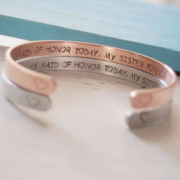 Maid of honor gift sister, Maid of honor Proposal, Will you be my maid of honor sister, Maid of honor bracelets, hand stamped bracelets