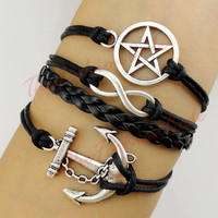 Bracelet, Anchor, To Infinity and Beyond, Dean Winchester, Pagan, Wiccan, Supernatural, Pentagram, Pentacle Star, Black Wax, Leather Braid