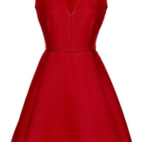 Giambattista Valli Wool and Silk-Blend A-Line Dress Red