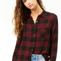 Button-Front Buffalo Plaid Shirt