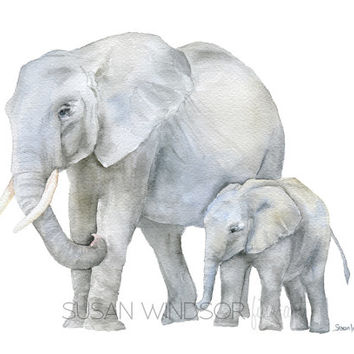 Elephants Watercolor Painting - 5 x 7 inches - Giclee Reproduction Fine Art Print - African Animals - Mother and Baby Nursery Decor
