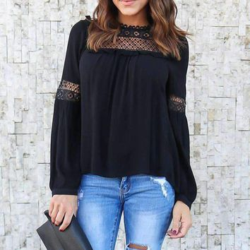 Celmia Elegant Women Lace Patchwork Long Sleeve Hollow Out Solid Ruffles Ol Work Shirt Chiffon Blouse Top Plus Size